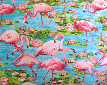 Half Yard Pink Flamingo Fabric , Cotton Material , Timeless Treasures