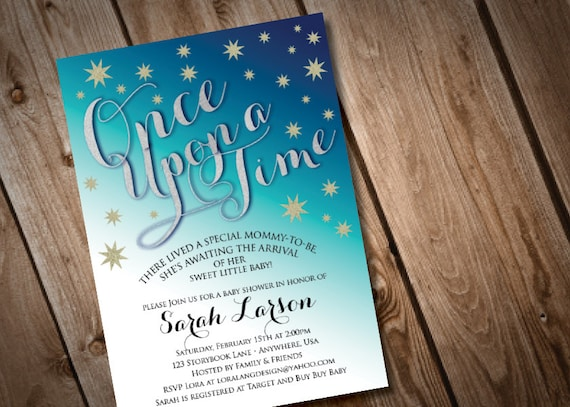 printable digital once upon a time baby shower invitation by