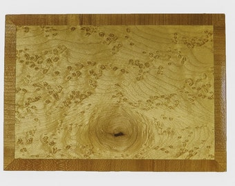 Wood Keepsake Box Featuring Bird's Eye Maple with Cherry Inlay Made in Chattanooga TN  USA
