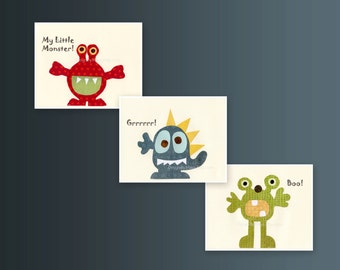 Baby room wall art, Nursery Art Decor, Kids Print, monsters, set of 3 8x10 prints, blue, green, yellow, orange and red monsters