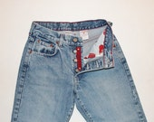"Reserved for Victoria - SALE - Vintage Lucky Brand Dungarees Jeans Low Rise Button Fly Light Wash  - Size SMALL / 2, 25"" - 26"" Waist"