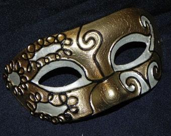 Black, Ivory, and Gold Venetian Mask