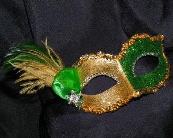 Green and Gold Glitter Masquerade Mask