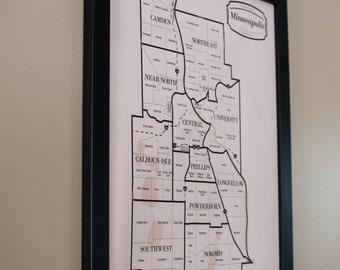 Minneapolis Neighborhood Map Wall Art Home Decor Poster