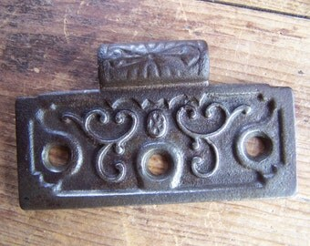 "SIZE 3-1/2"" Cast Iron Victorian HALF Hinge for Doors, The Clark Manufacturing Co.,Ornate 1800's Authentic Antique Hinge Leaf Repair Hardware"