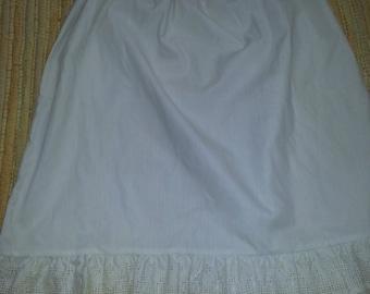 Vintage Dead Stock Heartstrings Girls Size 14 Half Slip Petticoat White Eyelet Trim at the Hem 1980s