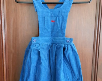 Vintage Izod Lacoste Blue Corduroy Jumper Girls Size 6X Winter 1980s Cross Straps