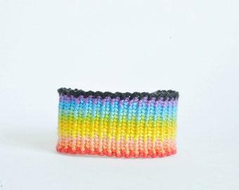 Wide rainbow friendship bracelet