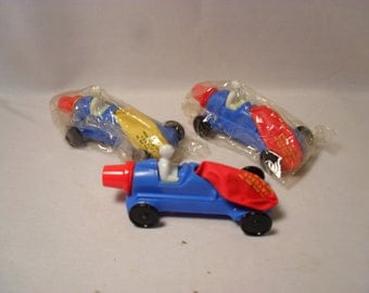 Lot of 3 Vintage New Balloon Powered Plastic Race Cars Jaycees Advertisement