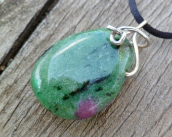 Ruby In Zoisite With Sterling Silver Necklace. Ruby In Zoisite Properties. Handmade. Natural Stone, Birthstone Necklace. Pendant.