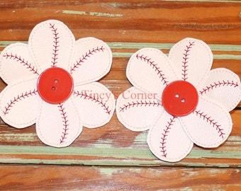 """Baseball Flower Hair Clips (Set of Two) - 3"""""""