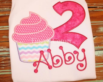 Cupcake Birthday Appliqued Ruffle Shirt