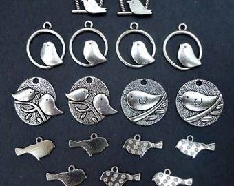 18 Piece Assortment of Bird Themed Charms / Pendants