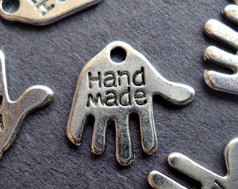 Small 'Hand Made' Hand Shaped Charms - Silver - Double Sided - Bulk