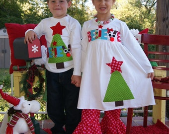 Brother Sister Christmas Dress and Shirt Set - Boys Tree Top and Girls Tree Dress - You Choose Dress and Shirt Colors