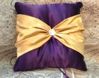 ring bearer pillow custom made satin pillow gold with dark purple