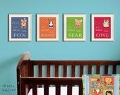 Woodland Nursery decor. Be Brave little bear, grow wise little owl, baby nursery art. SET of ANY 4 prints by WallFry
