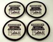 Fabric Coasters - Dark Brown / Ivory Cotton (Set of Four)
