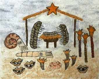 Christmas Pageant Disasters: Paleozoic Nativity, 8 x 10,  original sand painting outsider art work