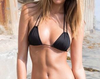 Bikini Swimwear Triangle Bikini Top Black Swimsuit Top - Maya