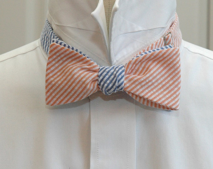 Men's Reversible Bow Tie, orange & blue seersucker, wedding bow tie, groom bow tie, groomsmen gift, prom bow tie, preppy bow tie, self tie