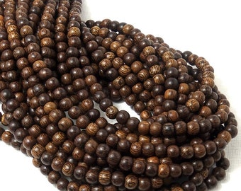 Madre de Cacao Wood, Dark, 6mm-7mm, Round, Smooth, Small, Natural Wood Beads, 16 Inch Strand - ID 1647-DK