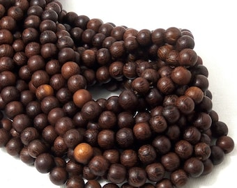 "Madre de Cacao Wood, Dark, 8mm, Round, Smooth, Small, Natural Wood Beads, Full 16"" Strand, 50pcs - ID 1648-DK"