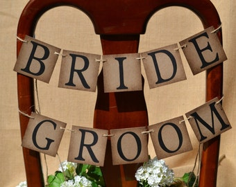 Bride and groom banner ...  wedding sign ... bride and groom decoration ...  wedding party decoration ...   chair banner