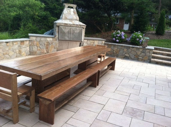 12 foot foot patio table and bench set by modernrust on etsy