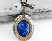 "Get 15% OFF - Handmade Resin ""Gemini"" Constellation Sign Antique Bronze Oval Photo Locket Pendant Necklace - 4th of July SALE 2016"