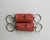 Wine Cork Key chains - Coral Pink Birds - wine cork keychains