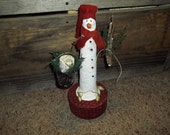 Hand Sculpted Snowman On Red Calico Fabric Covered Box