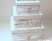 Wedding Card Box, Bling Card Box, Rhinestone Money Holder, White Wedding Gift Box  - Custom Made