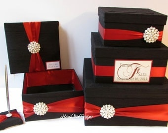 Wedding Money Box Set, includes guest book, pen and program box, burgundy and black