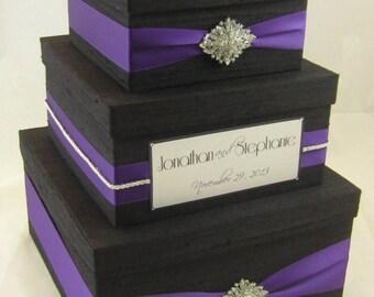 Wedding Gift Box, Card Box, Money Holder  - Custom Made, Black and Royal Purple