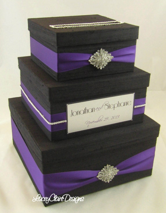 Wedding Gift Box, Card Box, Money HolderCustom Made, Black and ...