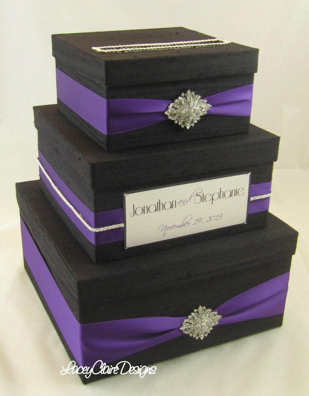 Mailbox Wedding Gift Card Holder : Wedding Gift Box Card Box Money Holder Custom Made Black