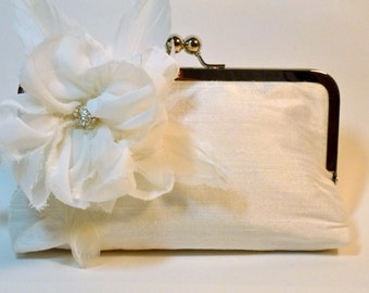 Bridal Clutch Ivory or White Silk with Rhinestone Feather Peony