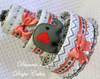 Elephants Coral & Gray Baby Diaper Shower Gift Centerpiece