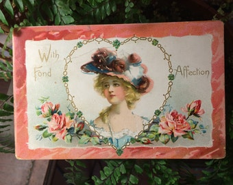 Classic Valentine Postcard -  Blonde Girl with Hat and Pink Roses - Paper Ephemera