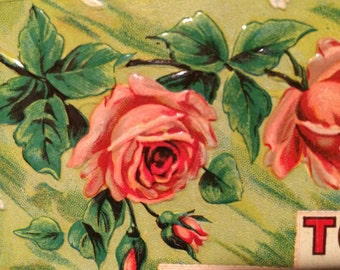 Victorian Sweetheart Postcard  - Pink Roses