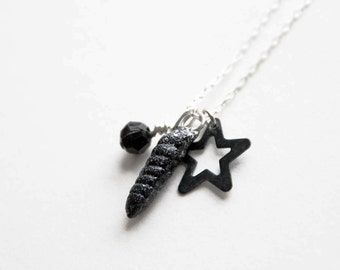 Midnight Unicorn Horn Charm Necklace // black glitter, faceted bead, star