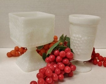 Two Vintage Milk Glass Vases with grape motif - square and round