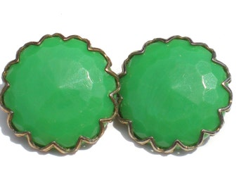 Vintage Bright Green Clip On Earrings with Faceted Plastic on Dog Tooth Prong Brass Settings - Small Vintage Costume Jewelry