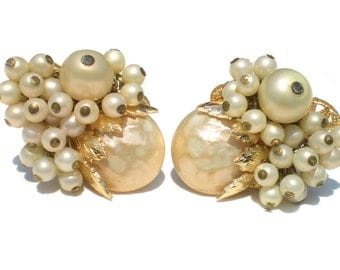 Vintage Clip On Cluster Earrings with White Imitation Pearls and Gold Tone Filigree and Leaves - Bridal Wedding Vintage Costume Jewelry