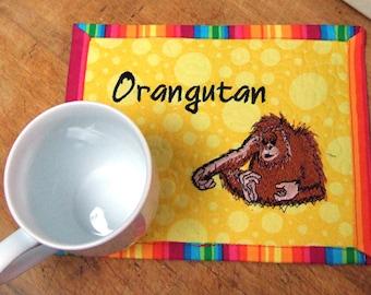 Fabric Mug Rug - Orangutan