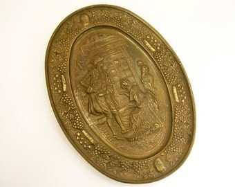 Brass plate wall hanging, July 4th Americana, romantic old world historical, colonial, grapes, winery vintage home decor for wine cellar bar