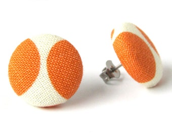 Orange white stud earrings - tangerine post earrings - button earrings - fabric earrings simple - fall autumn