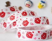 CLEARANCE SALE* FREE Shipping ~ 3 yards x  Grosgrain Ribbon 9mm red lips with hearts love ribbon - hair bow scrapbook sewing