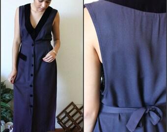 Vintage sz S/M  Blue 80s Dress W/ Faux Velvet Trim Made In USA